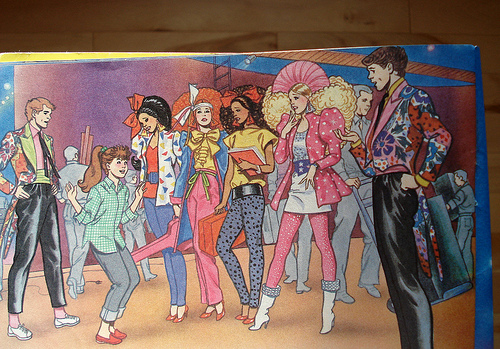 Page from Barbie and the Rockers: The Fan, showing the full bands outfits in detail.