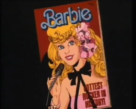 Barbie, alone, on the cover of Barbie Magazine, wearing a pink and black dress.