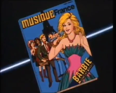 Barbie and The Rockers on the cover of Musique France. Barbie is wearing a teal and pink dress.