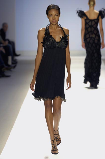 One of Laura Bennett's dresses for Project Runway's finale. It has a black feather bodice.