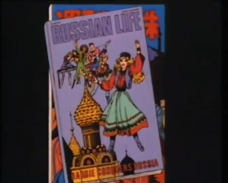 Barbie and The Rockers, wearing matching folk outfits on the cover of Russian Life.