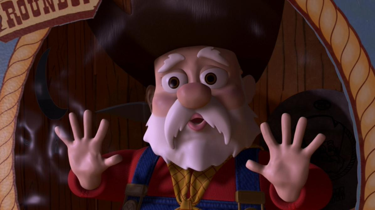 Stinky Pete from Toy Story 2, living a half-life.