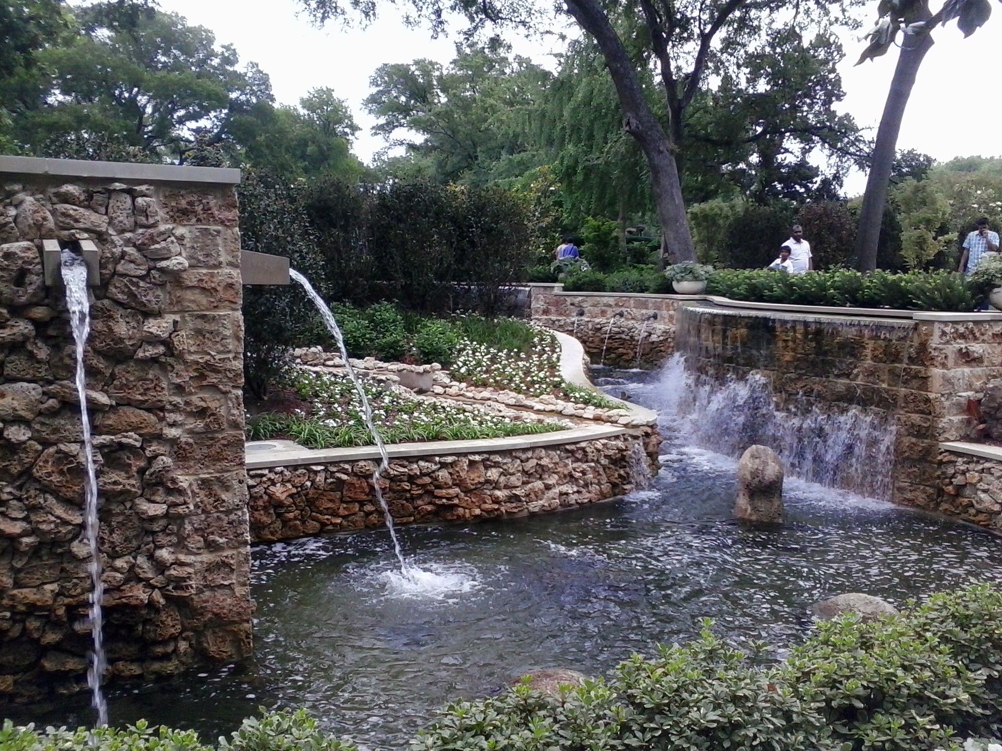 A waterfall pond in the Nancy Clements Seay Magnolia Glade.